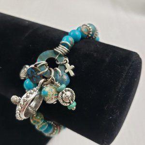 Jewelry - Blue Stone Silver Tone Bead Charm Bracelet Toggle